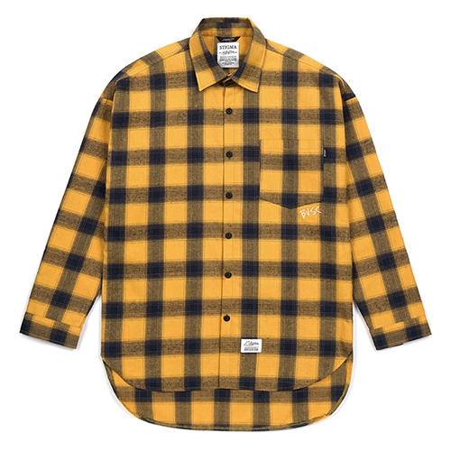 CROSS OVERSIZED FLANNEL CHECK SHIRTS YELLOWSOLD OUT