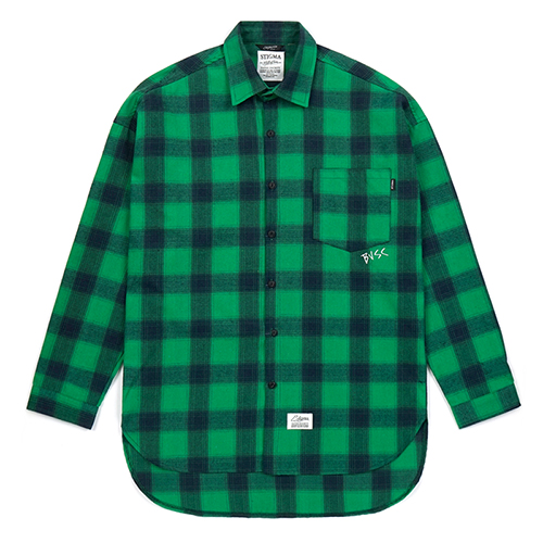 CROSS OVERSIZED FLANNEL CHECK SHIRTS GREENSOLD OUT
