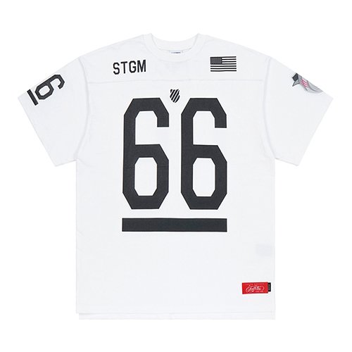 K.SWISS X STIGMA 66 OVERSIZED FOOTBALL T-SHIRTS WHITESOLD OUT
