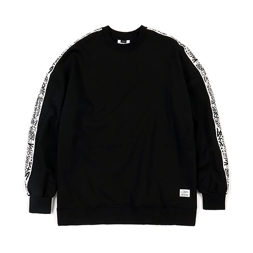 SIDE TAPE OVERSIZED CREWNECK BLACKSOLD OUT