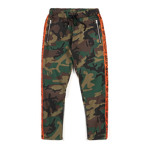 LINE ZIPPER JOGGER PANTS ORANGE