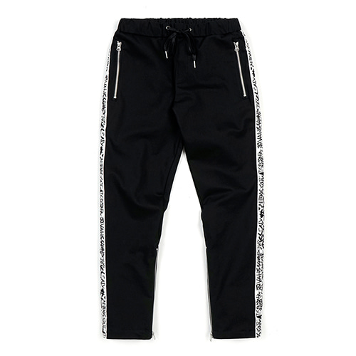 LINE ZIPPER JOGGER PANTS WHITE