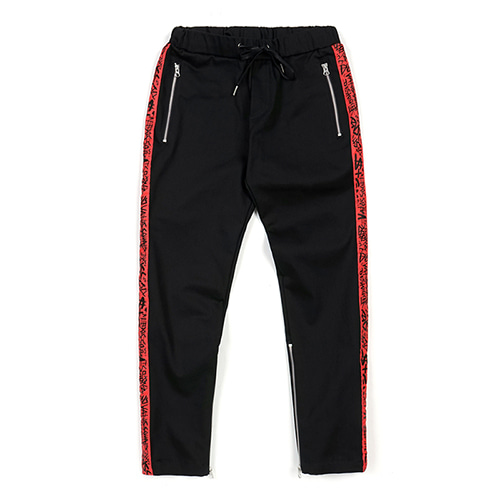 LINE ZIPPER JOGGER PANTS RED