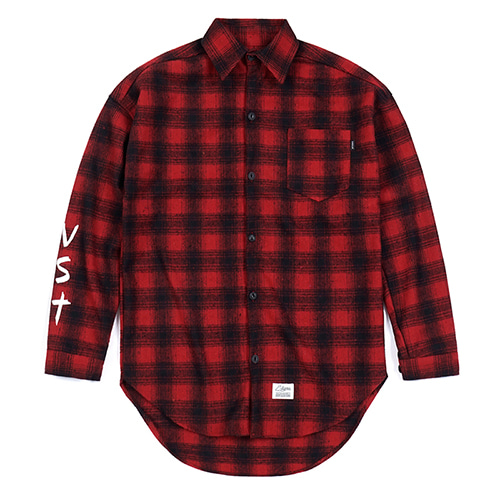 VST OVERSIZED WOOL CHECK SHIRTS RED