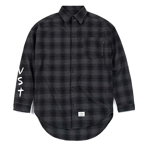 VST OVERSIZED WOOL CHECK SHIRTS DARK GREY