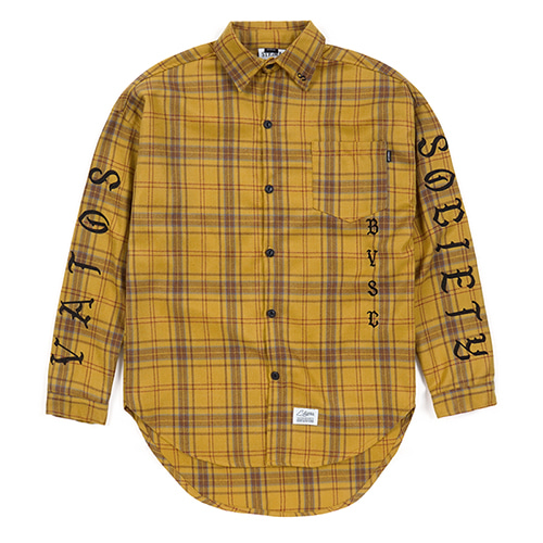 BLACK PANTHER OVERSIZED WOOL CHECK SHIRTS MUSTARDSOLD OUT
