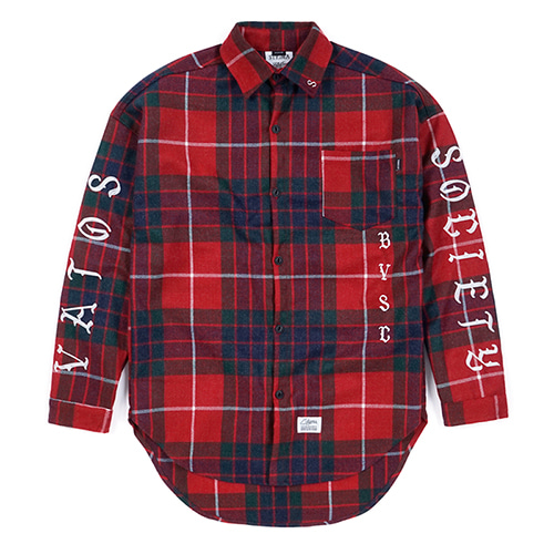 BLACK PANTHER OVERSIZED WOOL CHECK SHIRTS REDSOLD OUT