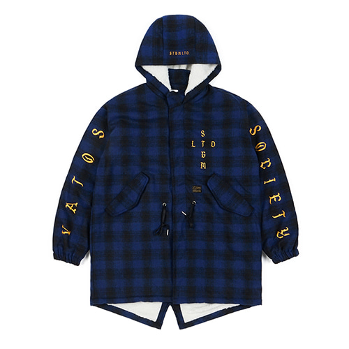 WORLD OVERSIZED WOOL CHECK VELBOA COAT BLUE
