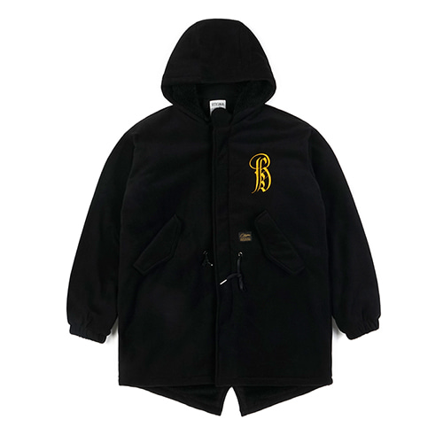 VATOS OVERSIZED FLEECE VELBOA COAT BLACK
