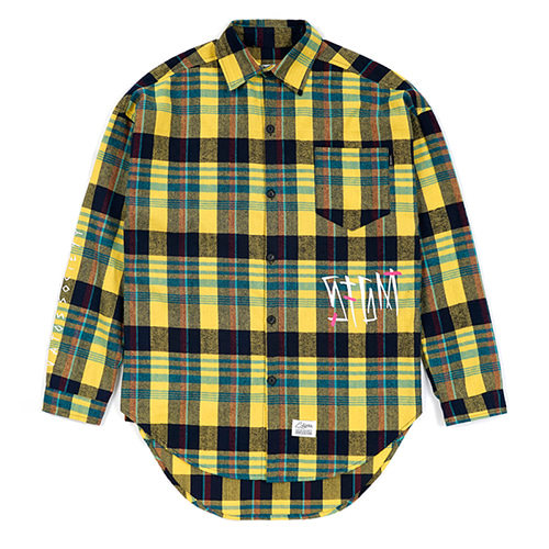 SLASH OVERSIZED CHECK SHIRTS YELLOW