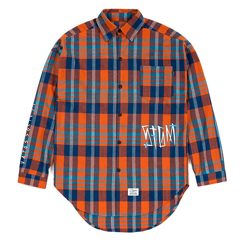 SLASH OVERSIZED CHECK SHIRTS ORANGE