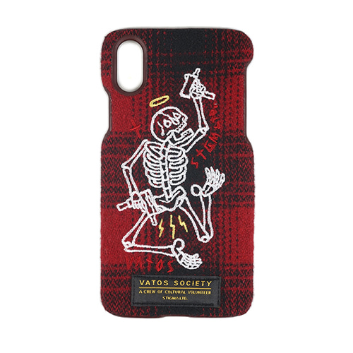 MASTERPIECE WOOL CHECK FABRIC CASE RED iPhone 8 / 8+ / X