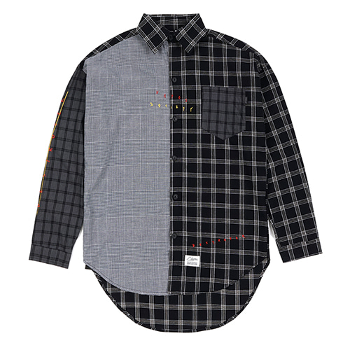 MULTI OVERSIZED CHECK SHIRTS BLACK