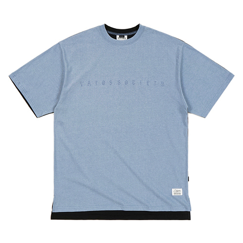 FRONT BACK OVERSIZED PIGMENT T-SHIRTS SKYBLUE