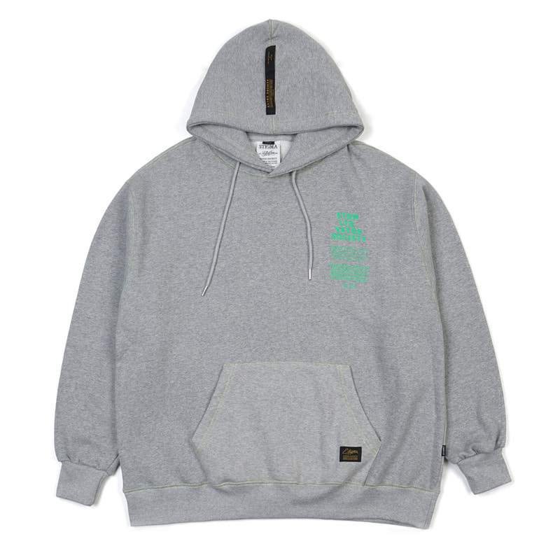 STITCH OVERSIZED HEAVY SWEAT HOODIE GREY