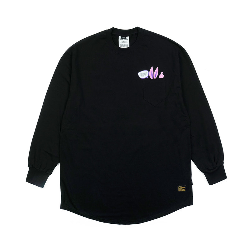 RABBIT GANG LAYERED LONG SLEEVES T-SHIRTS BLACK