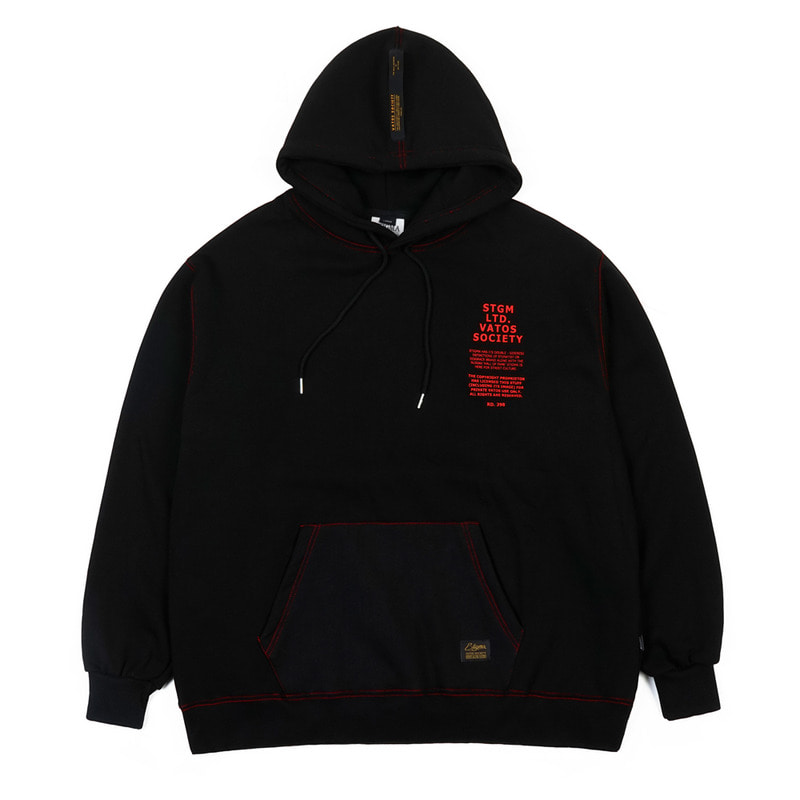 STITCH OVERSIZED HEAVY SWEAT HOODIE BLACK