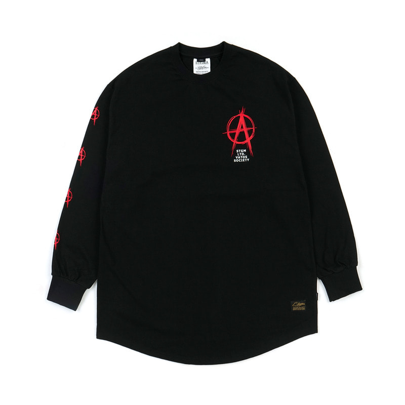 ANARCHY LAYERED LONG SLEEVES T-SHIRTS BLACK