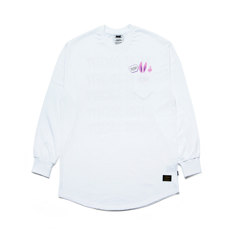 RABBIT GANG LAYERED LONG SLEEVES T-SHIRTS WHITE