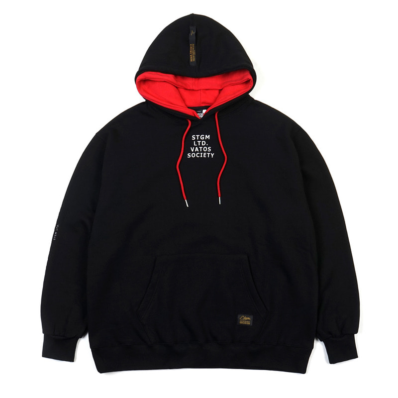 DOUBLE OVERSIZED HEAVY SWEAT HOODIE BLACK