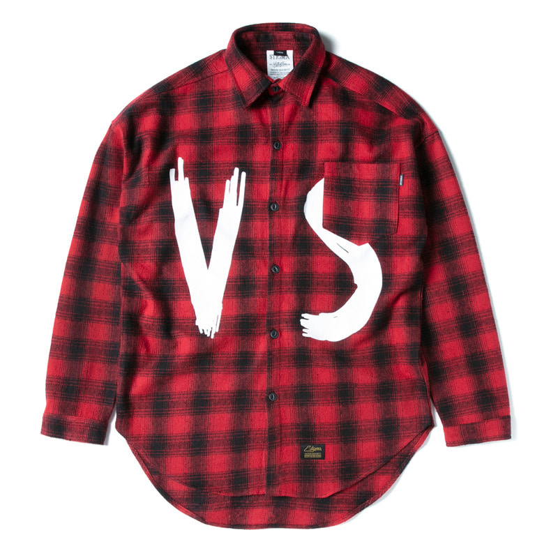 VSC OVERSIZED WOOL CHECK SHIRTS RED