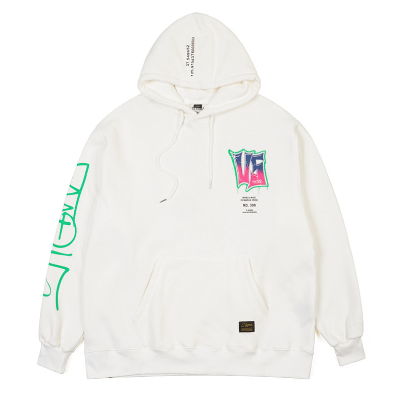 GRAFFITI OVERSIZED HEAVY SWEAT HOODIE WHITE