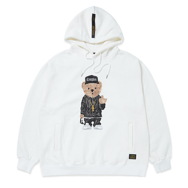 EMB COMPTON BEAR OVERSIZED HEAVY SWEAT HOODIE WHITE
