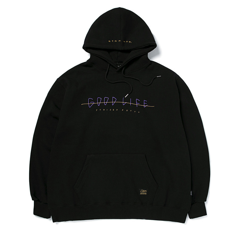 GOOD LIFE OVERSIZED HEAVY SWEAT HOODIE BLACK