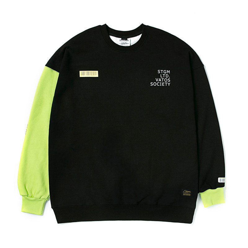 BARCODE OVERSIZED HEAVY SWEAT CREWNECK NEON GREEN