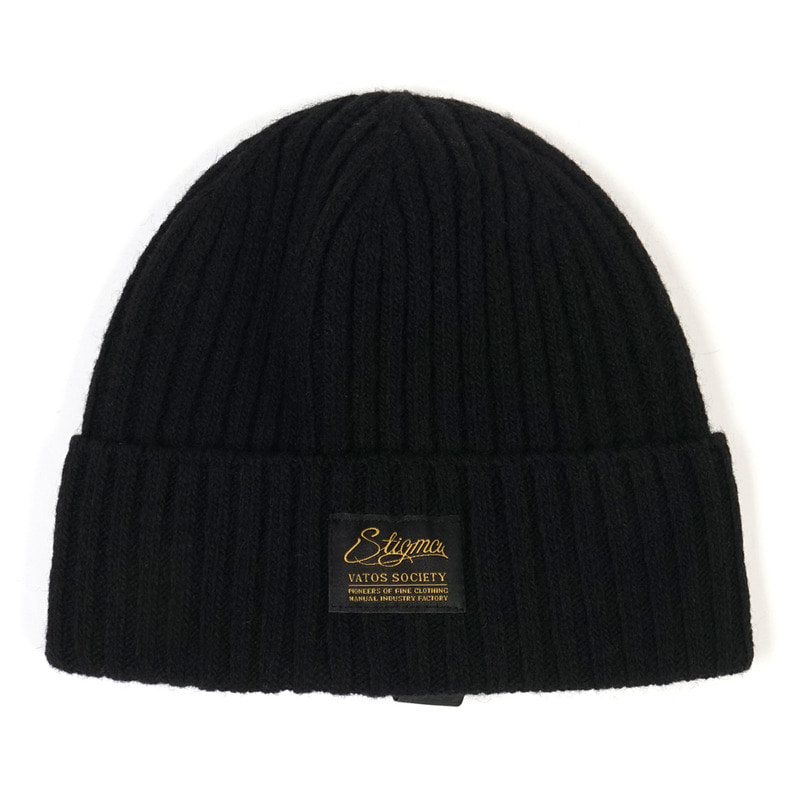 LABEL WOOL BEANIE BLACK