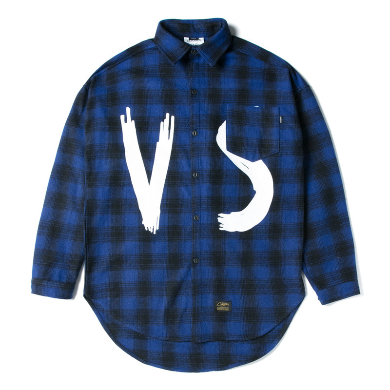 VSC OVERSIZED WOOL CHECK SHIRTS BLUE