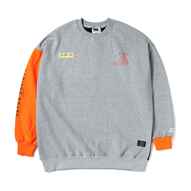BARCODE OVERSIZED HEAVY SWEAT CREWNECK ORANGE
