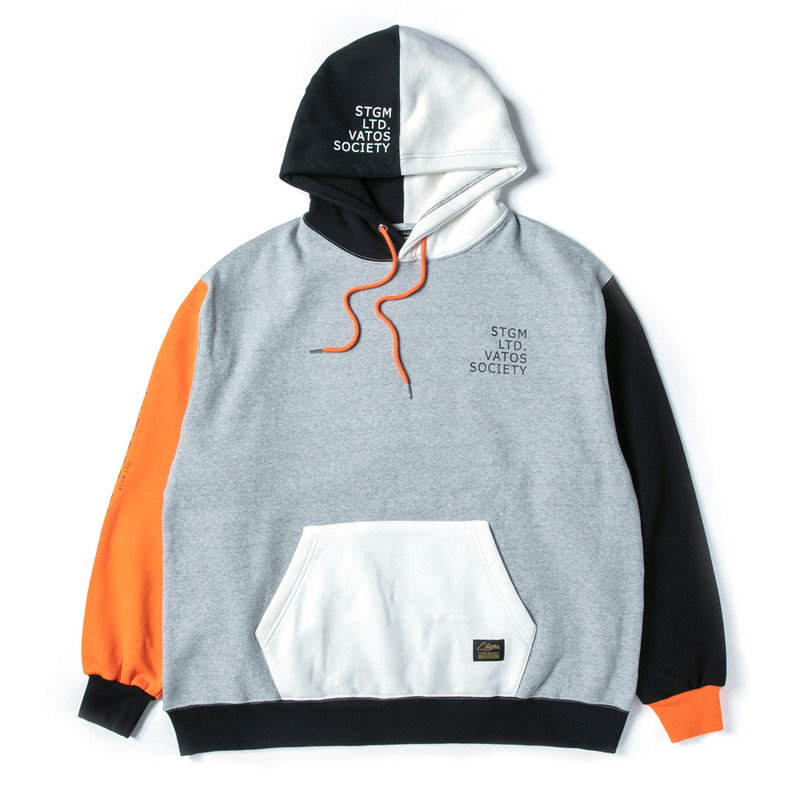 MULTIPLE OVERSIZED HEAVY SWEAT HOODIE ORANGE