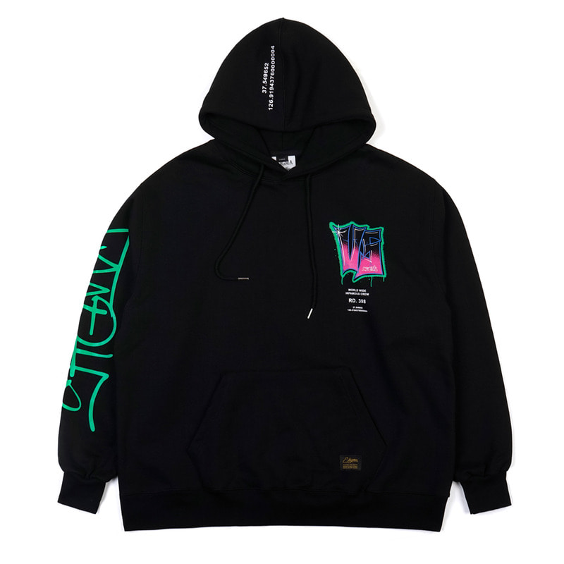 GRAFFITI OVERSIZED HEAVY SWEAT HOODIE BLACK