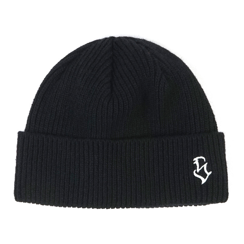 S - LOGO WOOL SHORT BEANIE BLACKSOLD OUT