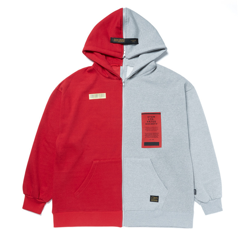 SPLIT OVERSIZED HEAVY SWEAT ZIPUP HOODIE RED