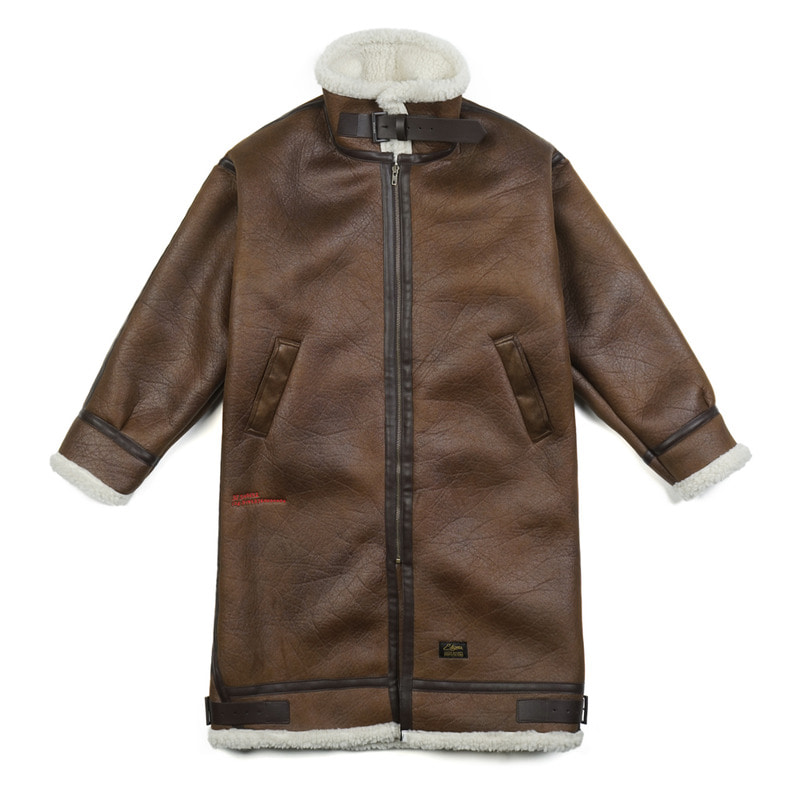 STGM OVERSIZED MOUTON LONG JACKET BROWN