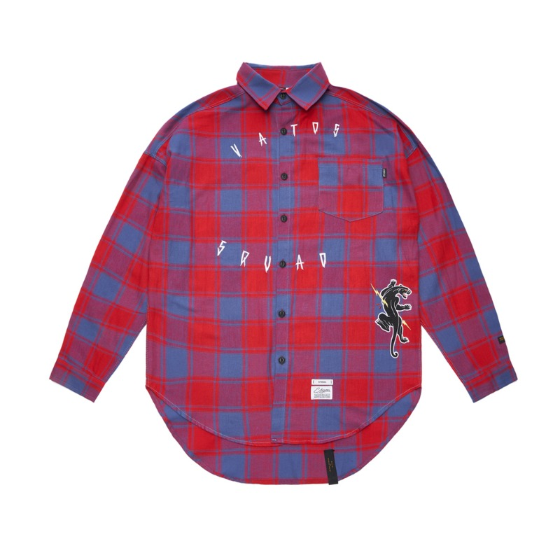 PANTHER OVERSIZED CHECK SHIRTS RED