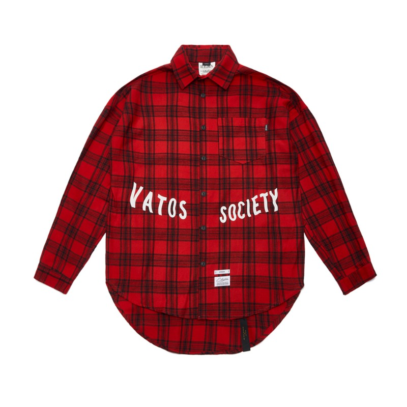 MUSK OVERSIZED CHECK SHIRTS RED