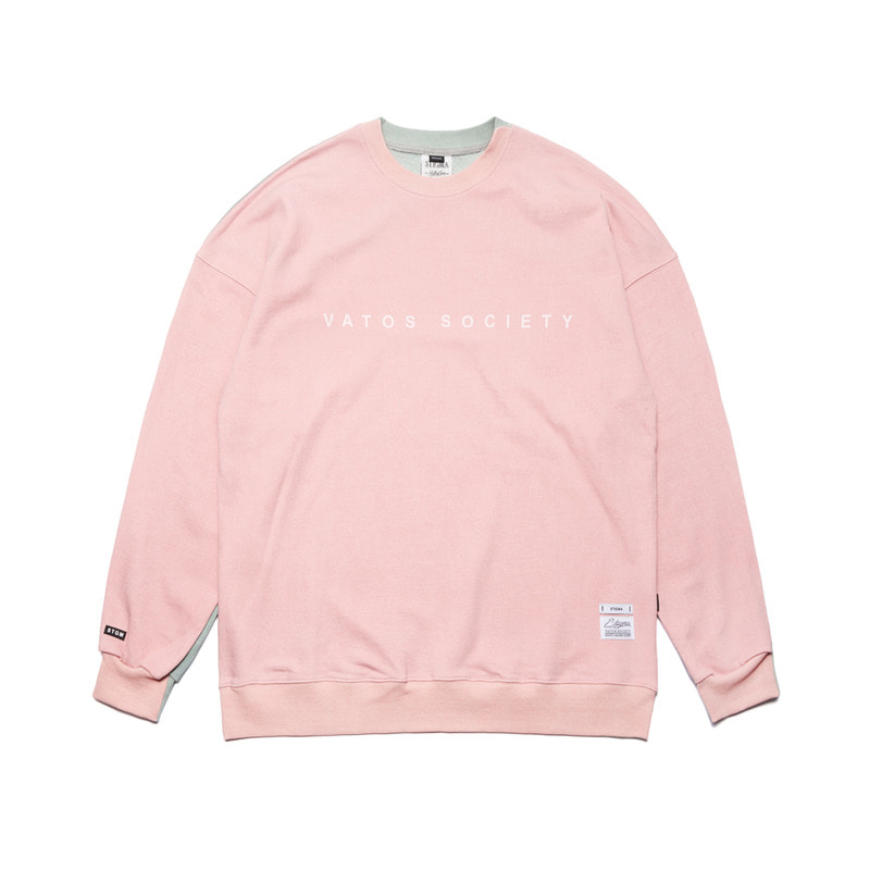 SIDE HALF OVERSIZED MEDIUM SWEAT CREWNECK PINK