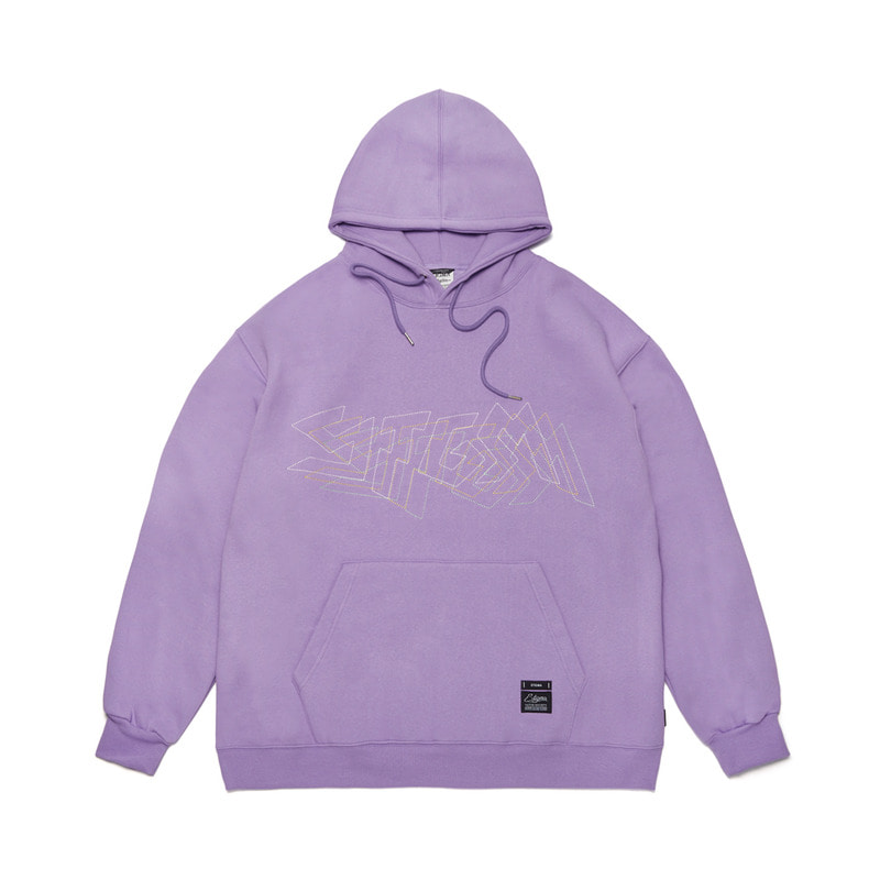 DOTTED LINE OVERSIZED HEAVY SWEAT HOODIE PURPLE