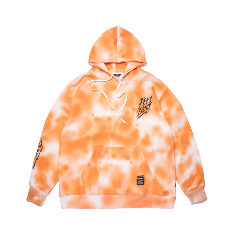 DOT TIE DYE OVERSIZED HEAVY SWEAT HOODIE ORANGE