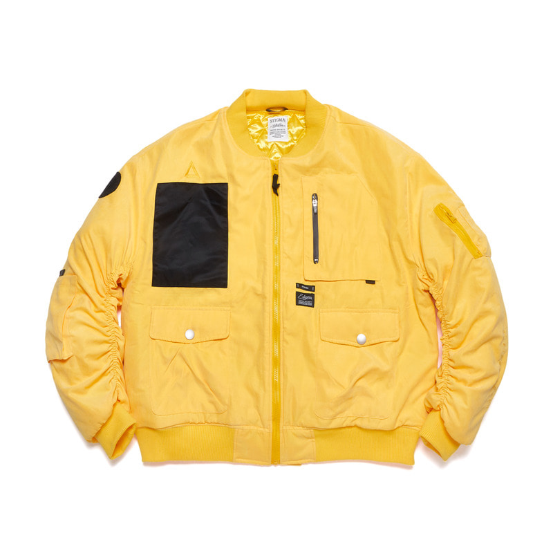 WASHED TECH OVERSIZED MA-1 JACKET YELLOW