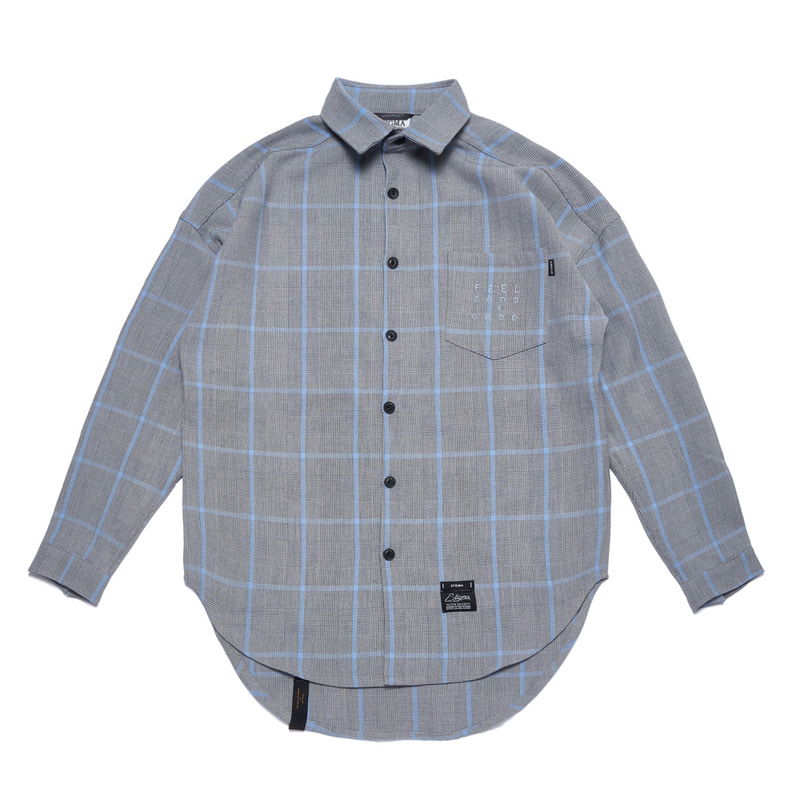GL OVERSIZED CHECK SHIRTS BLUE GRAYSOLD OUT