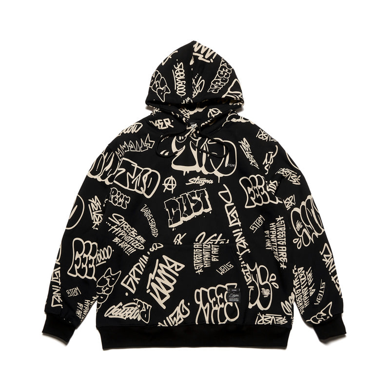 PAINTING OVERSIZED HEAVY SWEAT HOODIE BLACK