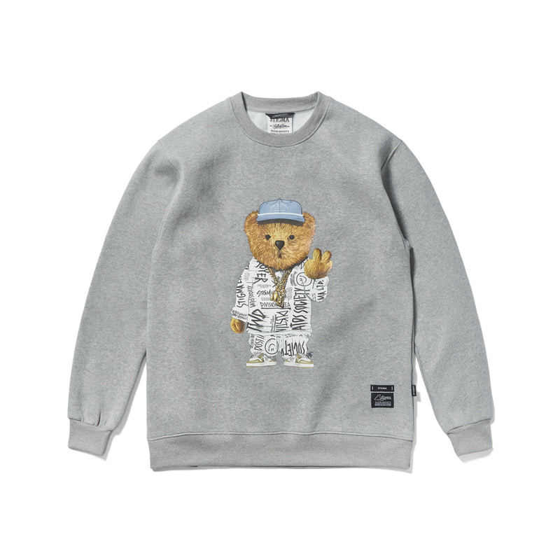 20 COMPTON BEAR HEAVY SWEAT CREWNECK GREY
