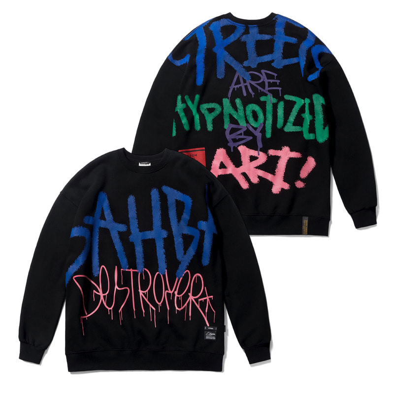 20 GRAFFITI OVERSIZED HEAVY SWEAT CREWNECK BLACK